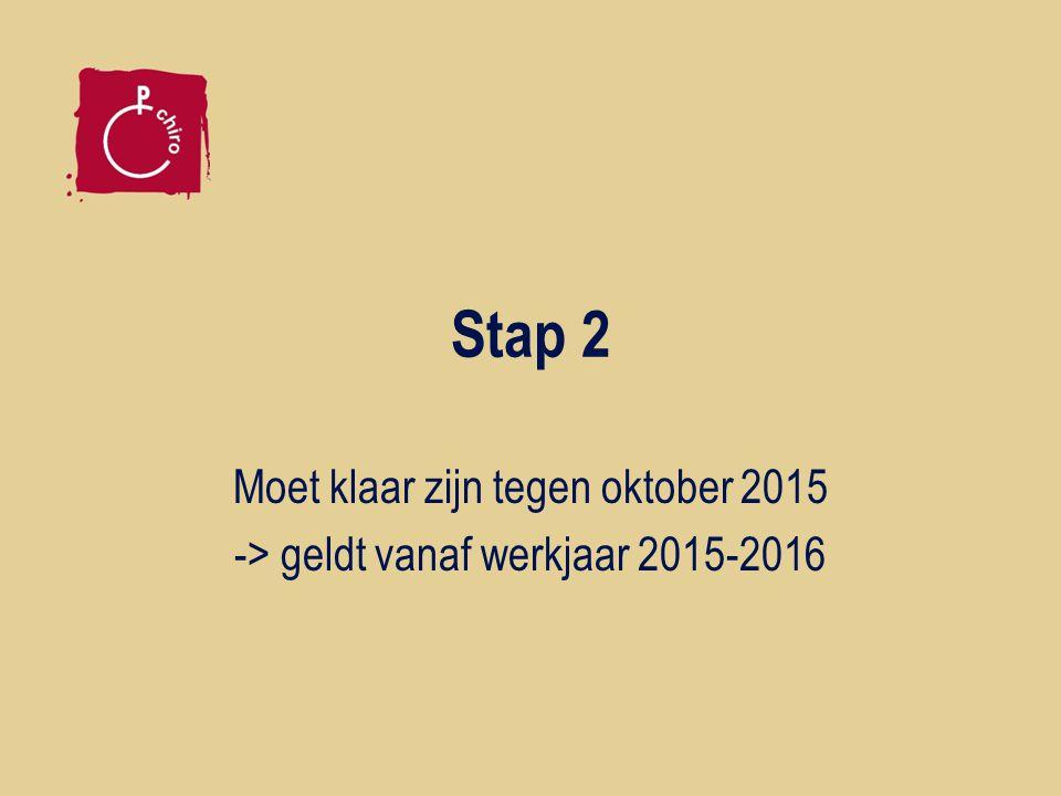 Stap 2 Moet klaar zijn tegen oktober 2015 -> geldt vanaf werkjaar 2015-2016