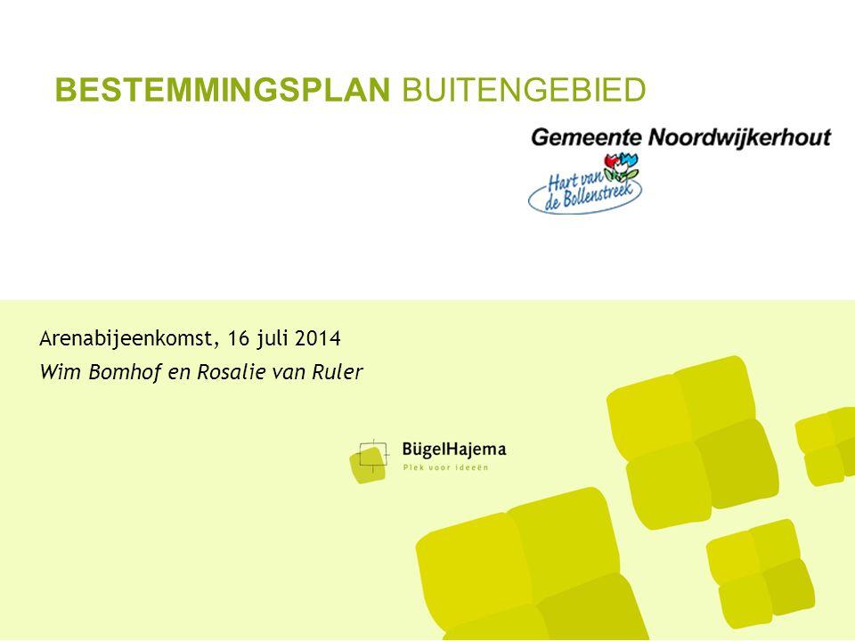 BESTEMMINGSPLAN BUITENGEBIED Arenabijeenkomst, 16 juli 2014 Wim Bomhof en Rosalie van Ruler