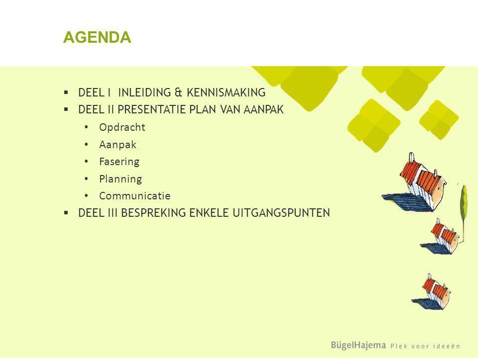  DEEL I INLEIDING & KENNISMAKING  DEEL II PRESENTATIE PLAN VAN AANPAK Opdracht Aanpak Fasering Planning Communicatie  DEEL III BESPREKING ENKELE UITGANGSPUNTEN AGENDA