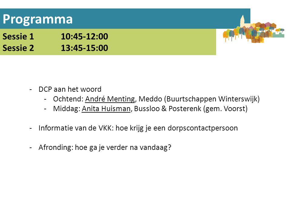 Programma Sessie 1 10:45-12:00 Sessie 213:45-15:00 -DCP aan het woord -Ochtend: André Menting, Meddo (Buurtschappen Winterswijk) -Middag: Anita Huisma