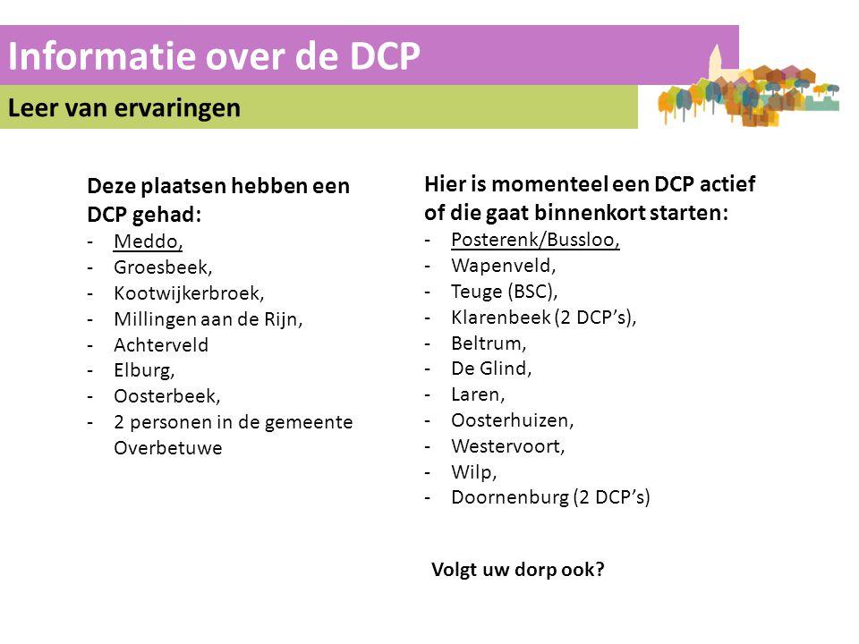 Informatie over de DCP Leer van ervaringen Hier is momenteel een DCP actief of die gaat binnenkort starten: -Posterenk/Bussloo, -Wapenveld, -Teuge (BS
