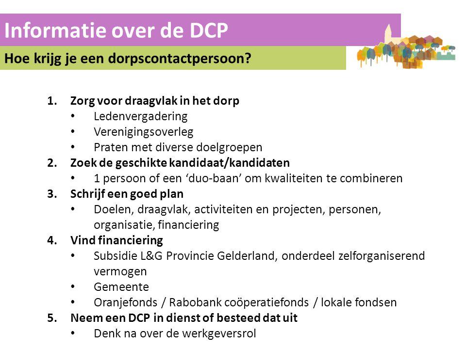 Informatie over de DCP Hoe krijg je een dorpscontactpersoon? 1.Zorg voor draagvlak in het dorp Ledenvergadering Verenigingsoverleg Praten met diverse