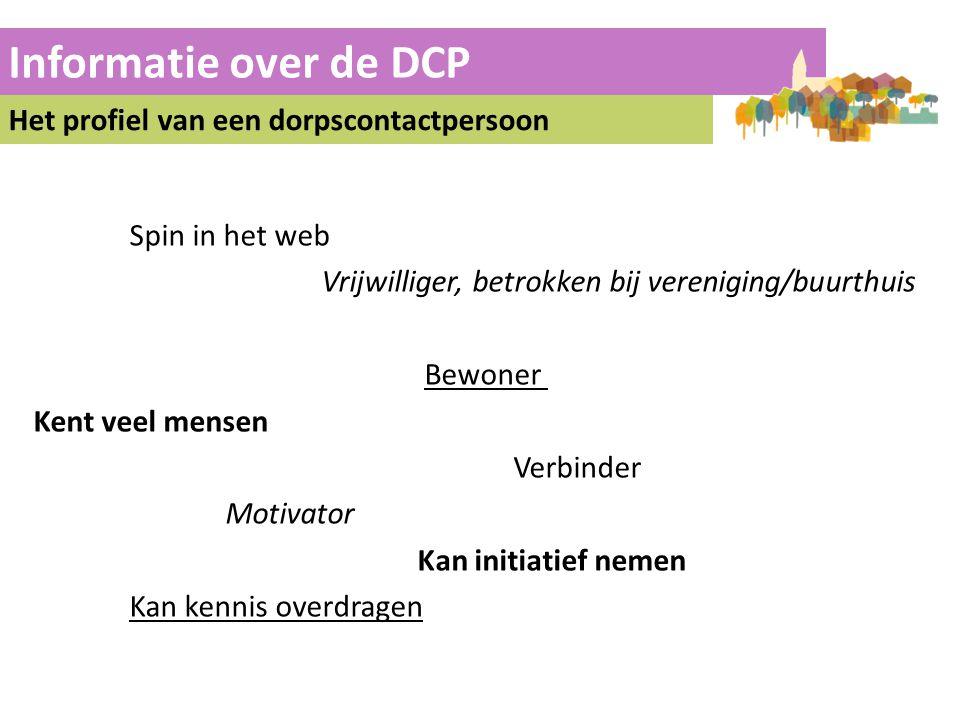 Informatie over de DCP Het profiel van een dorpscontactpersoon Spin in het web Vrijwilliger, betrokken bij vereniging/buurthuis Bewoner Kent veel mens
