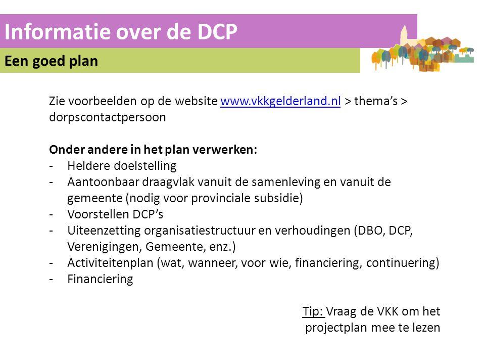 Informatie over de DCP Een goed plan Zie voorbeelden op de website www.vkkgelderland.nl > thema's > dorpscontactpersoonwww.vkkgelderland.nl Onder ande