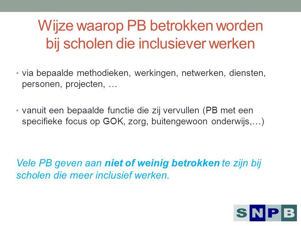 Wijze waarop PB betrokken worden bij scholen die inclusiever werken via bepaalde methodieken, werkingen, netwerken, diensten, personen, projecten, … v