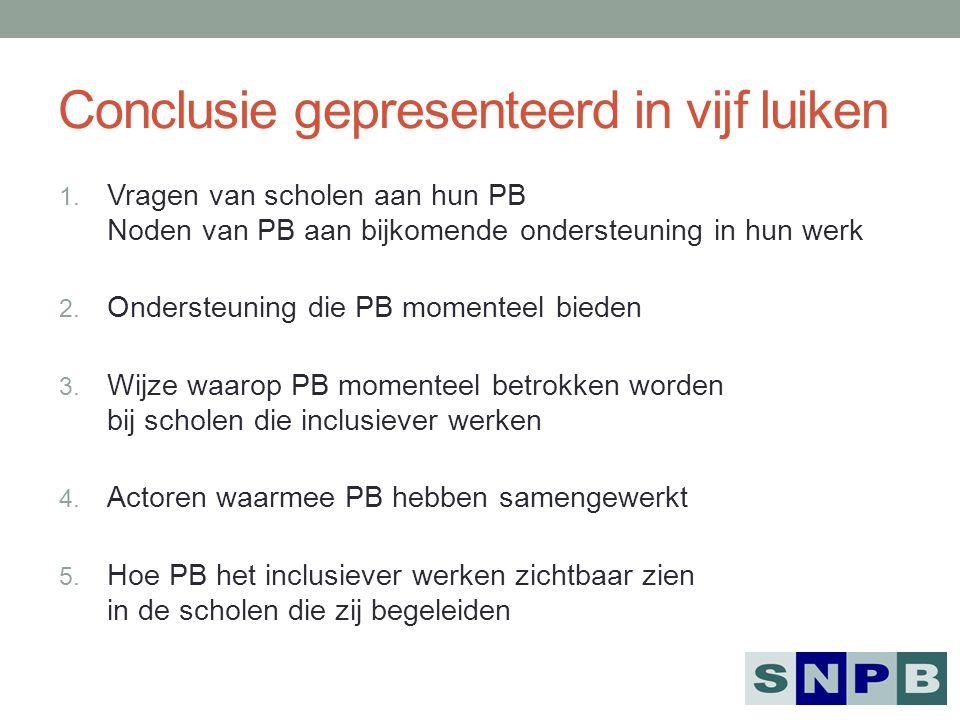 Conclusie gepresenteerd in vijf luiken 1. Vragen van scholen aan hun PB Noden van PB aan bijkomende ondersteuning in hun werk 2. Ondersteuning die PB