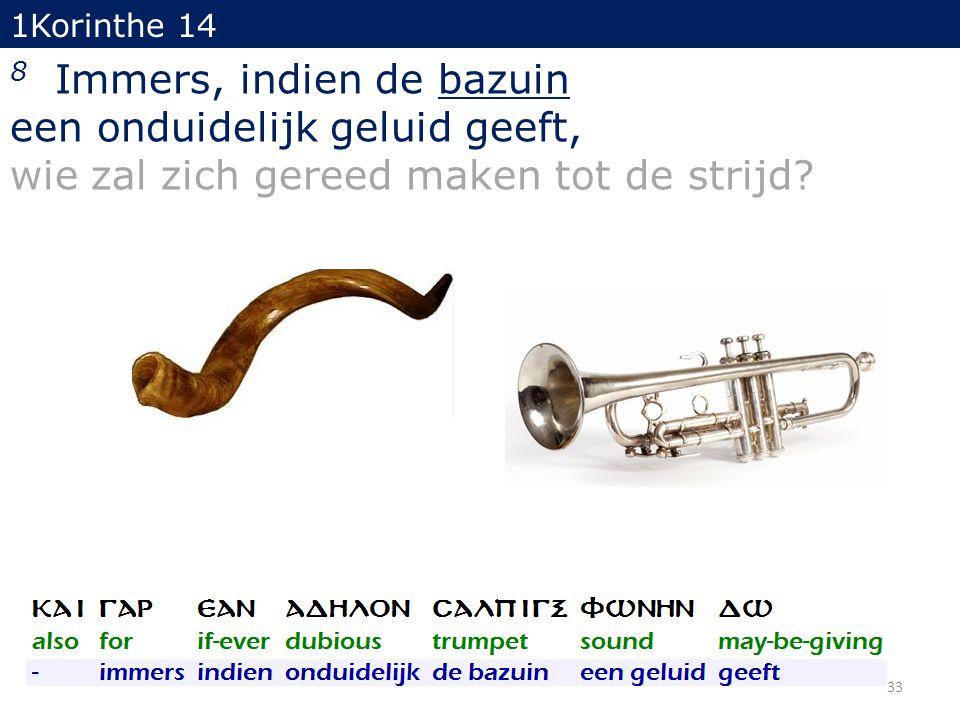 1Korinthe 14 8 Immers, indien de bazuin een onduidelijk geluid geeft, wie zal zich gereed maken tot de strijd? 33