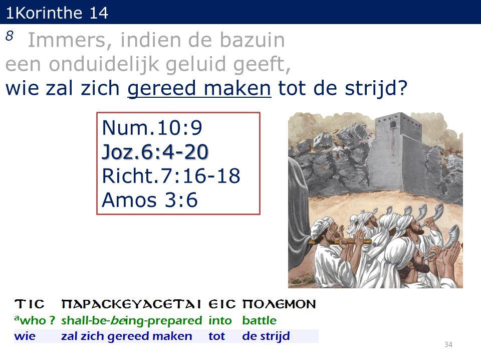 1Korinthe 14 8 Immers, indien de bazuin een onduidelijk geluid geeft, wie zal zich gereed maken tot de strijd? 34 Num.10:9Joz.6:4-20 Richt.7:16-18 Amo