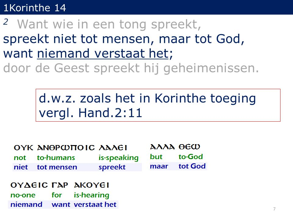 1Korinthe 14 14 Want indien ik bid in een tong, bidt mijn geest wel, maar mijn verstand blijft onvruchtbaar.
