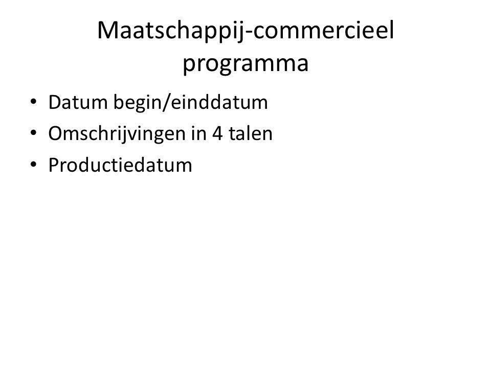 Maatschappij-commercieel programma Datum begin/einddatum Omschrijvingen in 4 talen Productiedatum