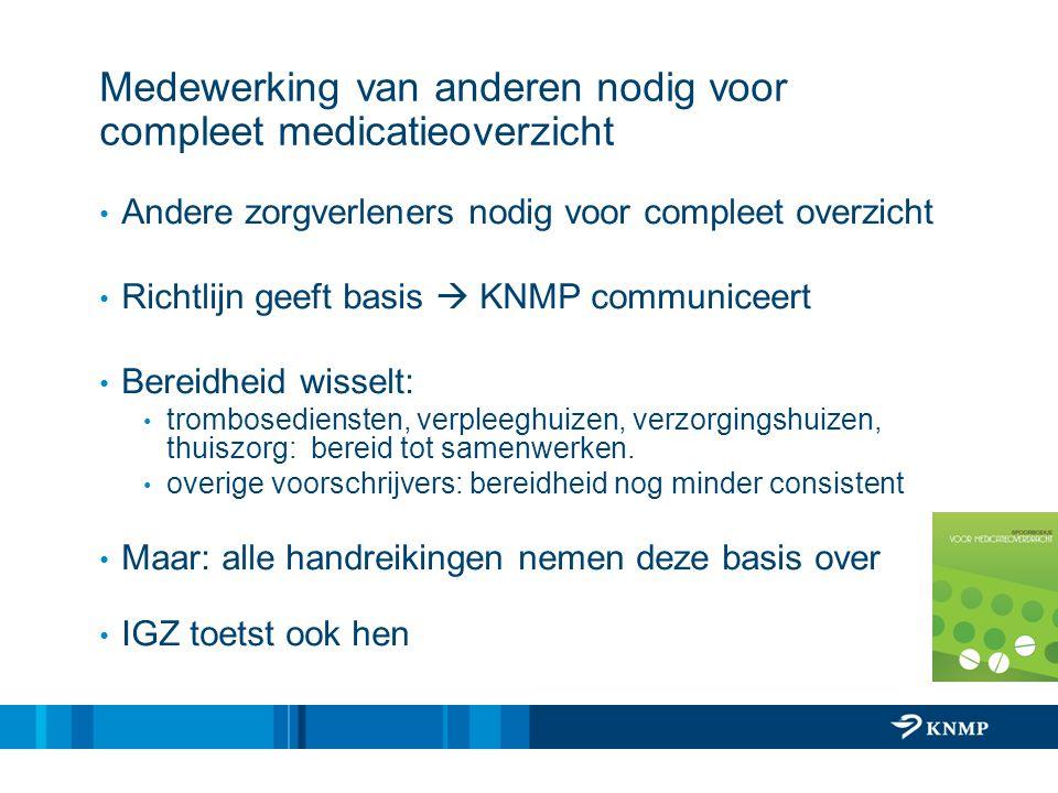 Medewerking van anderen nodig voor compleet medicatieoverzicht Andere zorgverleners nodig voor compleet overzicht Richtlijn geeft basis  KNMP communi
