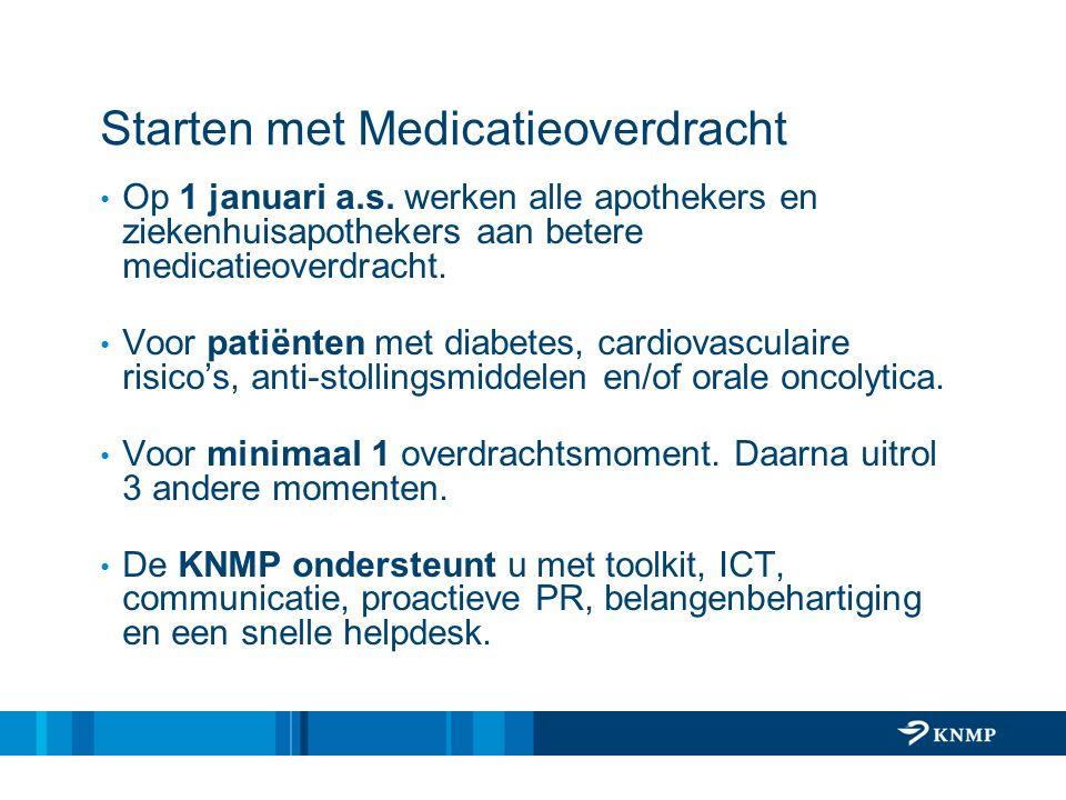 Landelijke Afspraak Uitvoering per 1 jan 2011 (IGZ gaat hierop toetsen) Medicatieoverzicht omvat ten minste volgende gegevens: 1.