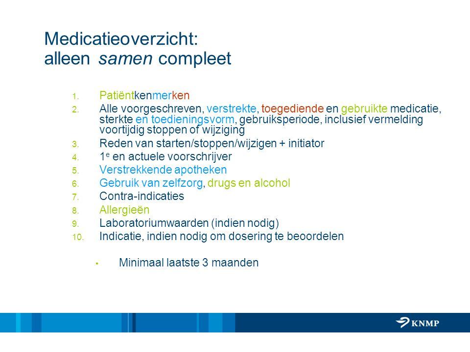 Medicatieoverzicht: alleen samen compleet 1. Patiëntkenmerken 2. Alle voorgeschreven, verstrekte, toegediende en gebruikte medicatie, sterkte en toedi