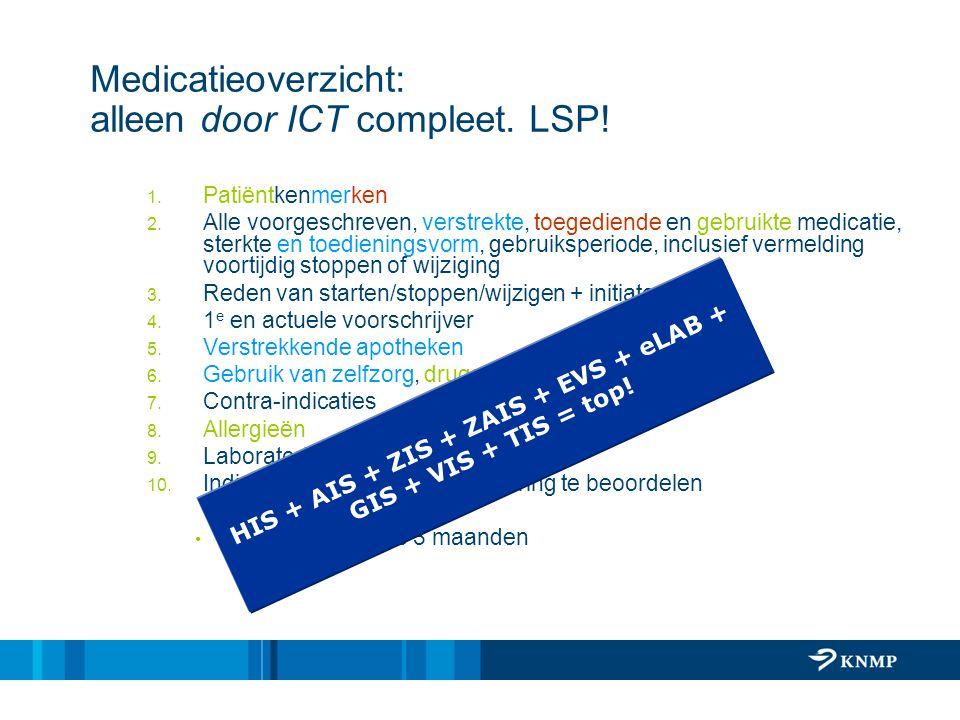 Medicatieoverzicht: alleen door ICT compleet. LSP! 1. Patiëntkenmerken 2. Alle voorgeschreven, verstrekte, toegediende en gebruikte medicatie, sterkte