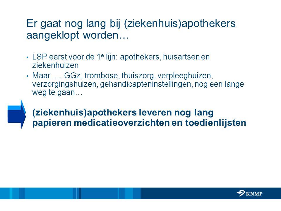 Er gaat nog lang bij (ziekenhuis)apothekers aangeklopt worden… LSP eerst voor de 1 e lijn: apothekers, huisartsen en ziekenhuizen Maar …. GGz, trombos