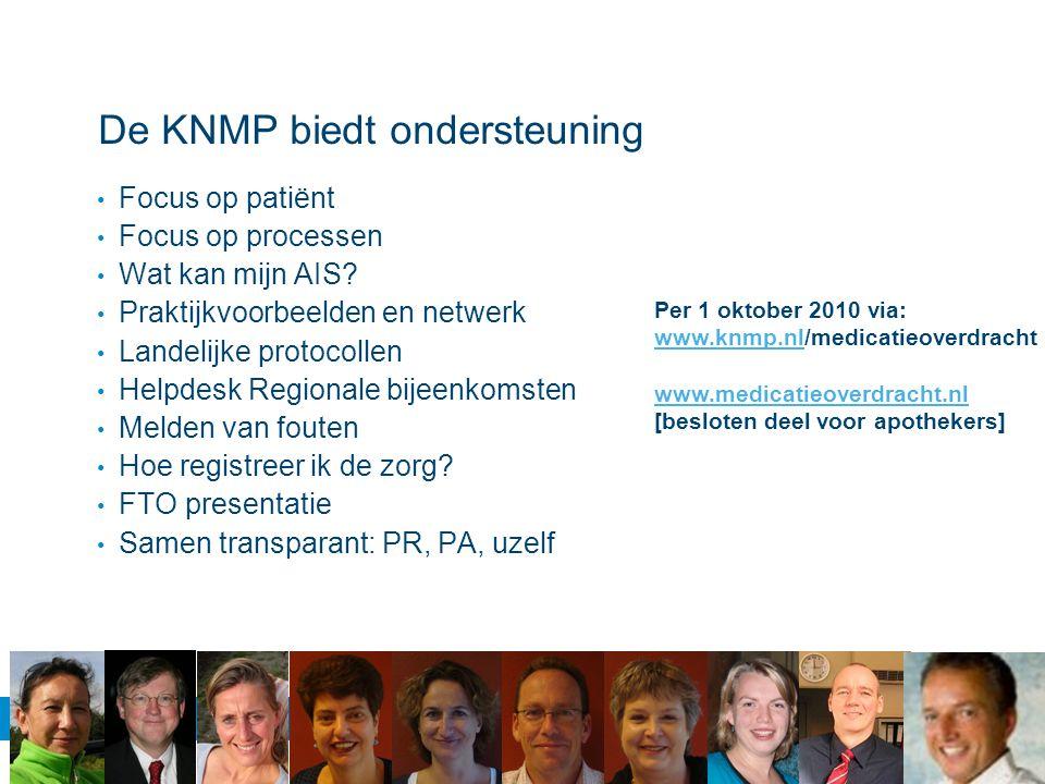 De KNMP biedt ondersteuning Focus op patiënt Focus op processen Wat kan mijn AIS? Praktijkvoorbeelden en netwerk Landelijke protocollen Helpdesk Regio