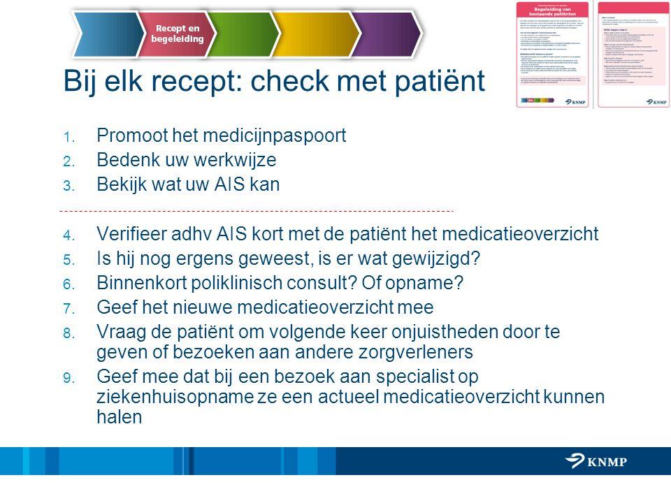 Bij elk recept: check met patiënt 1. Promoot het medicijnpaspoort 2. Bedenk uw werkwijze 3. Bekijk wat uw AIS kan 4. Verifieer adhv AIS kort met de pa
