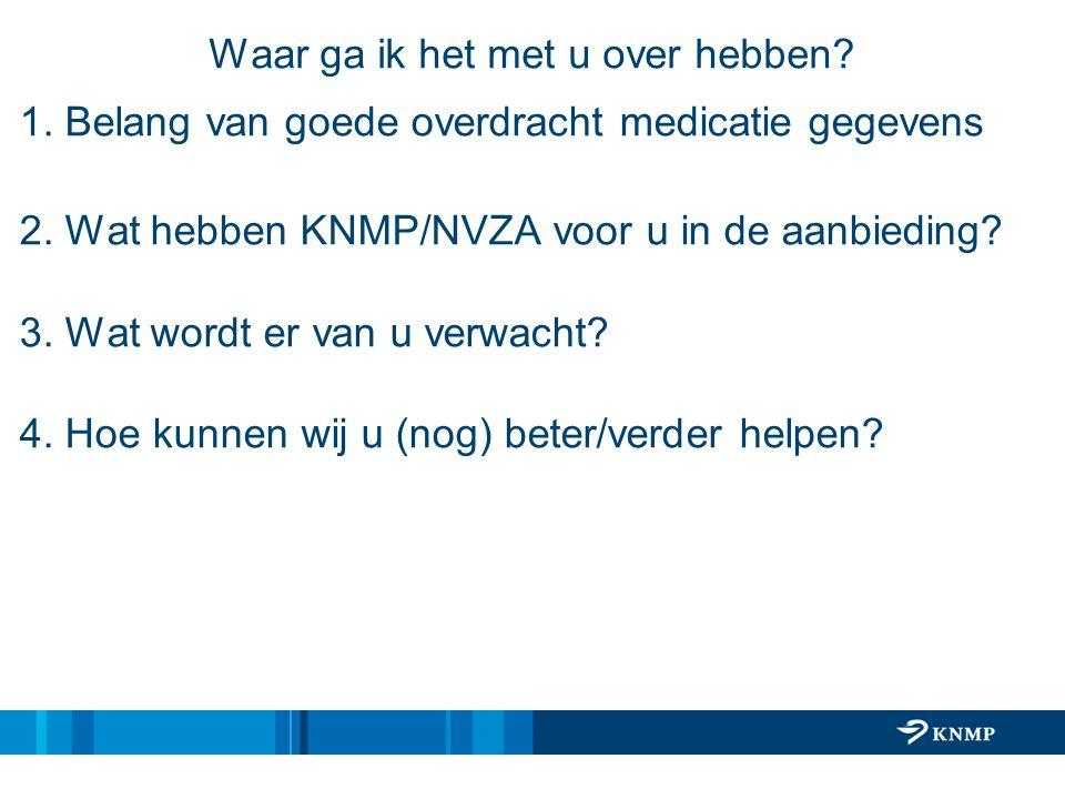 Waar ga ik het met u over hebben? 1. Belang van goede overdracht medicatie gegevens 2. Wat hebben KNMP/NVZA voor u in de aanbieding? 3. Wat wordt er v