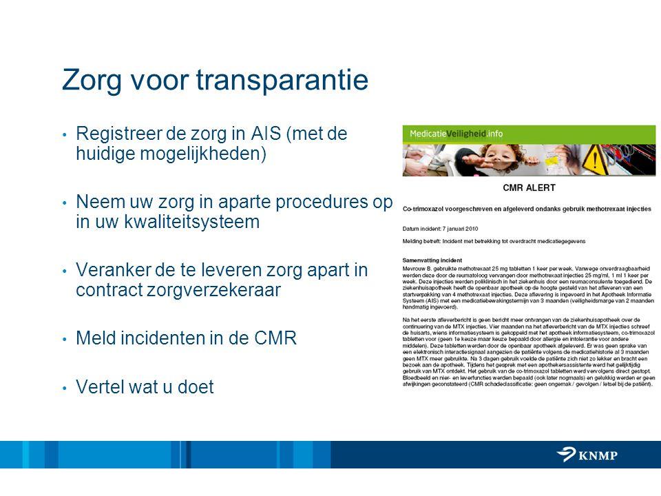 Zorg voor transparantie Registreer de zorg in AIS (met de huidige mogelijkheden) Neem uw zorg in aparte procedures op in uw kwaliteitsysteem Veranker