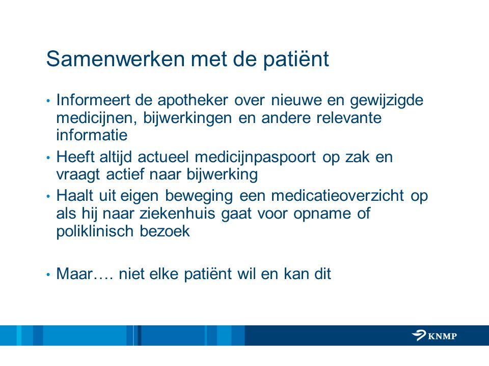 Samenwerken met de patiënt Informeert de apotheker over nieuwe en gewijzigde medicijnen, bijwerkingen en andere relevante informatie Heeft altijd actu