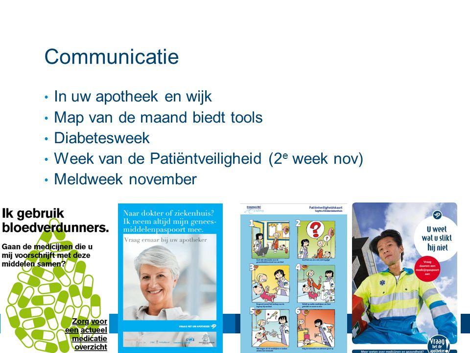 Communicatie In uw apotheek en wijk Map van de maand biedt tools Diabetesweek Week van de Patiëntveiligheid (2 e week nov) Meldweek november