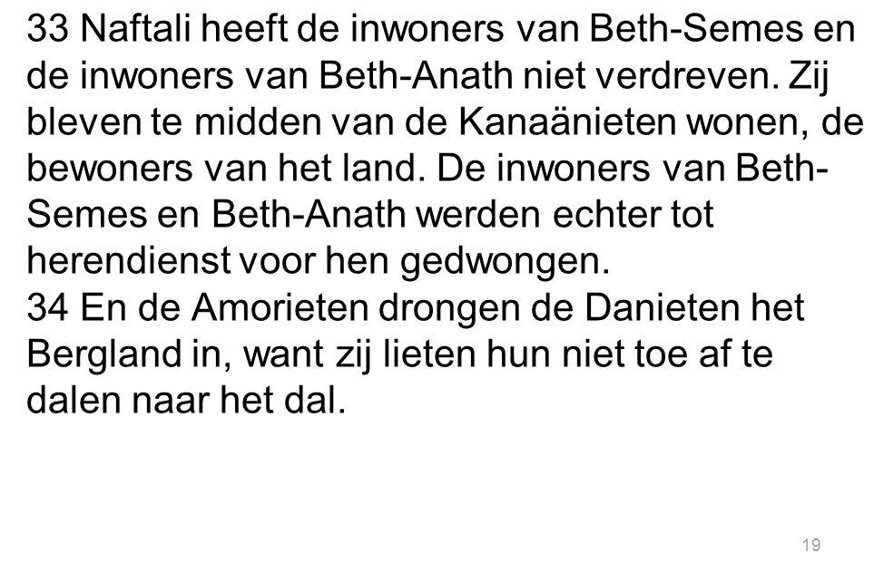 33 Naftali heeft de inwoners van Beth-Semes en de inwoners van Beth-Anath niet verdreven.
