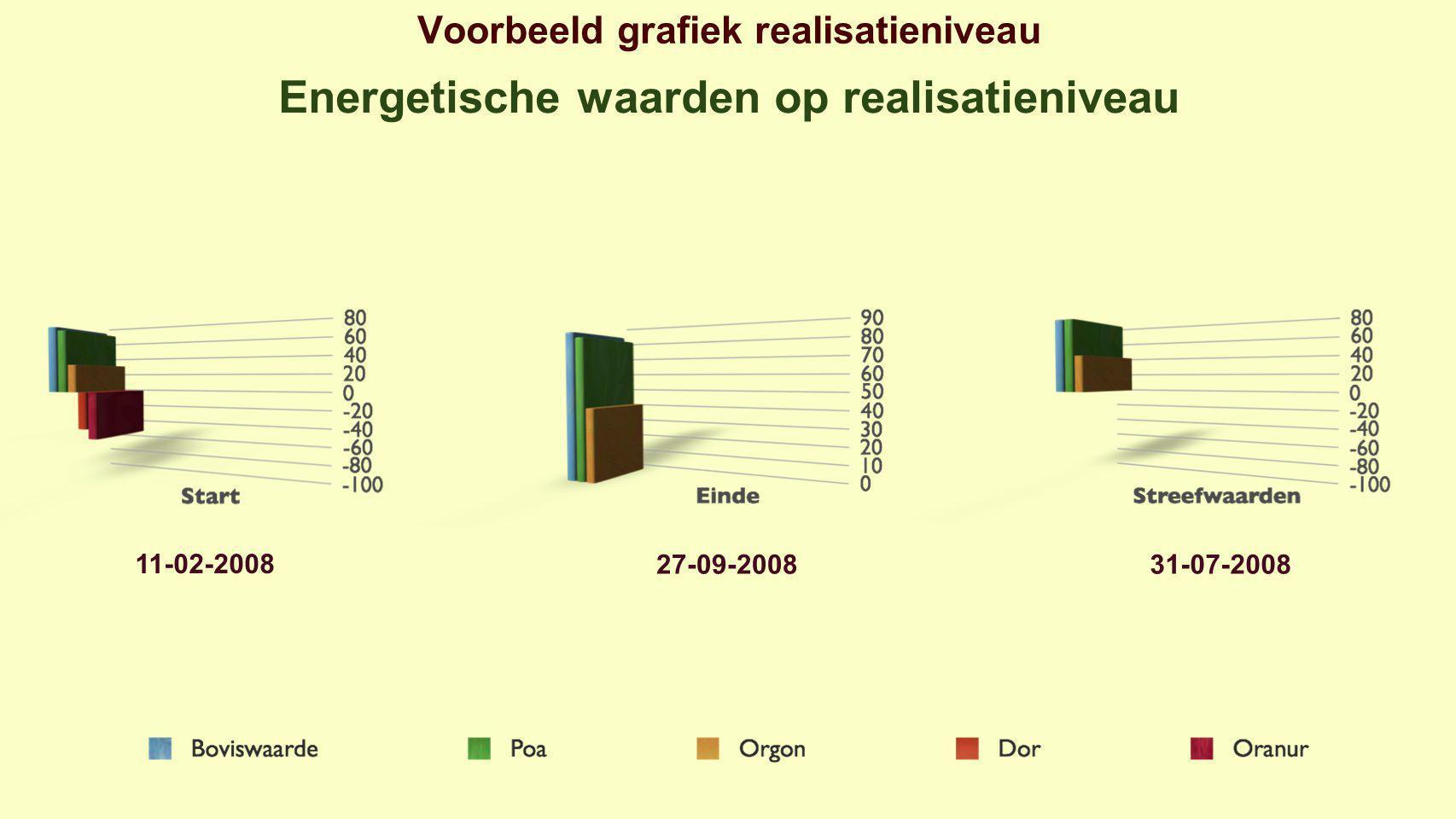 Voorbeeld grafiek realisatieniveau Energetische waarden op realisatieniveau 11-02-2008 27-09-200831-07-2008