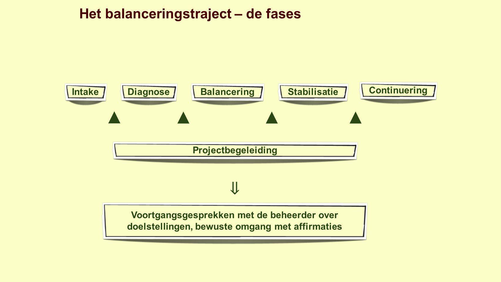 Het balanceringstraject – de fases IntakeDiagnoseBalanceringStabilisatieContinuering ▲ Projectbegeleiding ▲▲▲ ⇓ Voortgangsgesprekken met de beheerder over doelstellingen, bewuste omgang met affirmaties