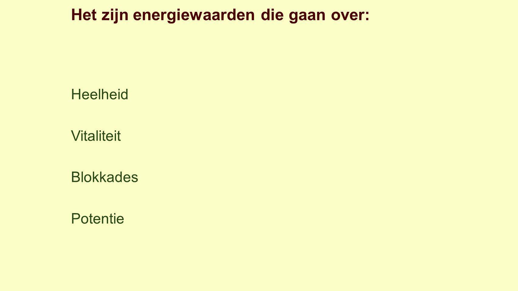 Het zijn energiewaarden die gaan over: Heelheid Vitaliteit Blokkades Potentie