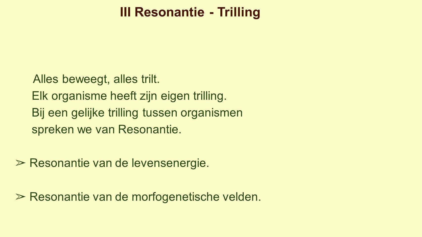 III Resonantie - Trilling Alles beweegt, alles trilt.