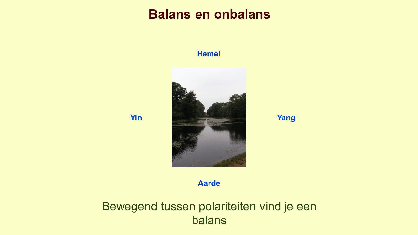Balans en onbalans Hemel YinYang Aarde Bewegend tussen polariteiten vind je een balans