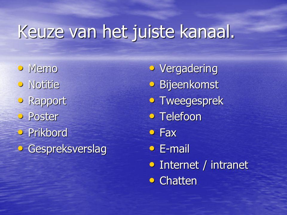 Keuze van het juiste kanaal. Memo Memo Notitie Notitie Rapport Rapport Poster Poster Prikbord Prikbord Gespreksverslag Gespreksverslag Vergadering Ver
