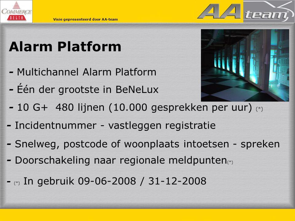 Alarm Platform - Multichannel Alarm Platform - Één der grootste in BeNeLux - 10 G+ 480 lijnen (10.000 gesprekken per uur) (*) - Doorschakeling naar regionale meldpunten (*) - Snelweg, postcode of woonplaats intoetsen - spreken - Incidentnummer - vastleggen registratie - (*) In gebruik 09-06-2008 / 31-12-2008 Visie gepresenteerd door AA-team