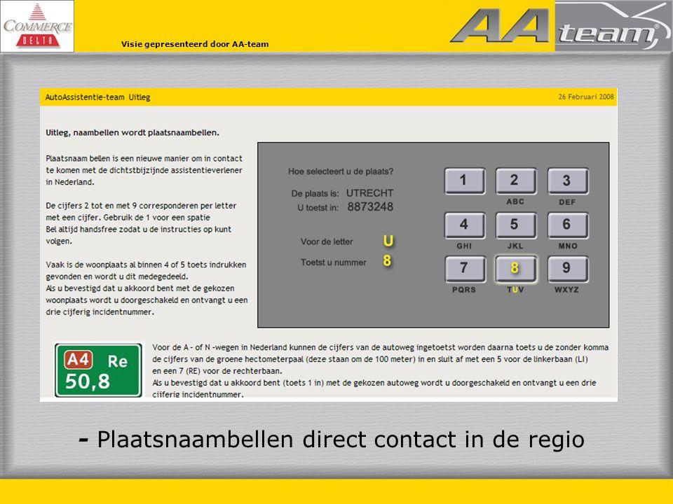 - Plaatsnaambellen direct contact in de regio