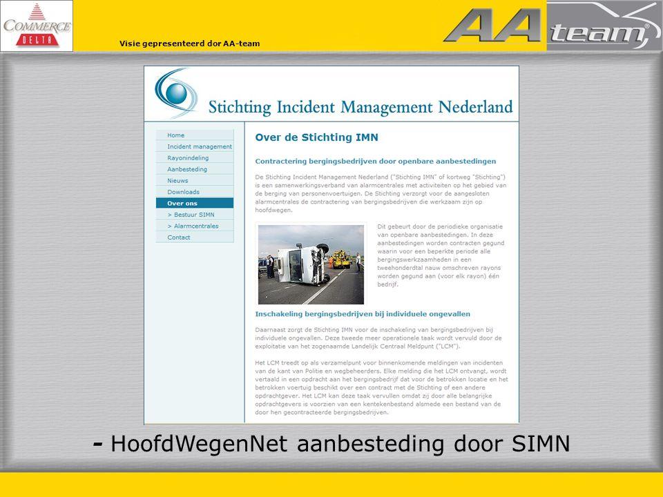 Visie gepresenteerd door AA-team - OnderliggendWegenNet toewijssysteem alarmcentrales