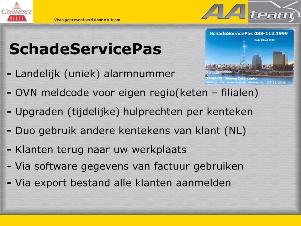 SchadeServicePas - Landelijk (uniek) alarmnummer - Duo gebruik andere kentekens van klant (NL) - Klanten terug naar uw werkplaats - OVN meldcode voor