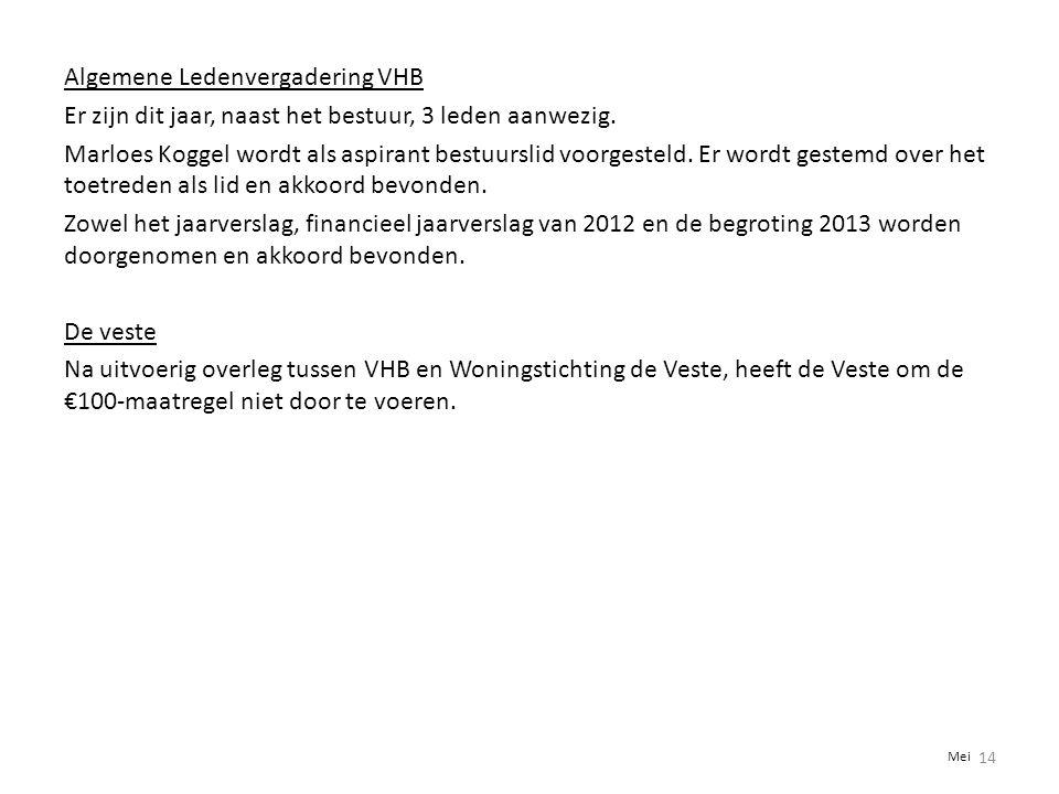 Algemene Ledenvergadering VHB Er zijn dit jaar, naast het bestuur, 3 leden aanwezig. Marloes Koggel wordt als aspirant bestuurslid voorgesteld. Er wor