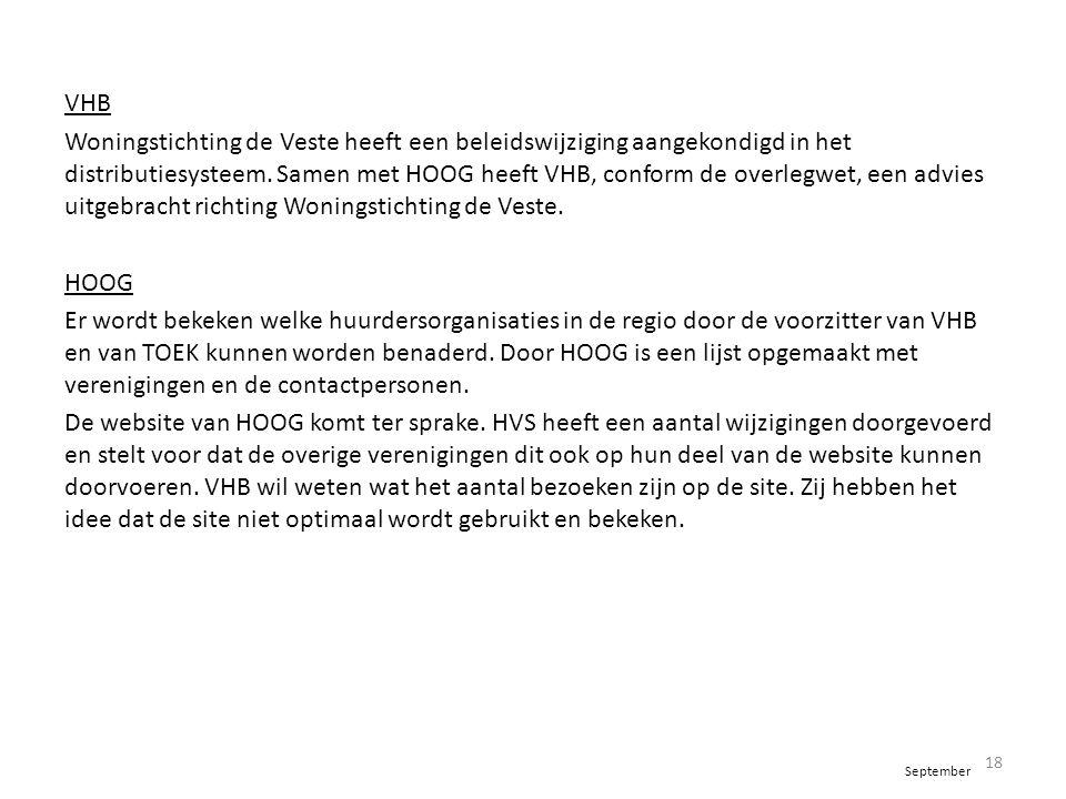 VHB Woningstichting de Veste heeft een beleidswijziging aangekondigd in het distributiesysteem. Samen met HOOG heeft VHB, conform de overlegwet, een a