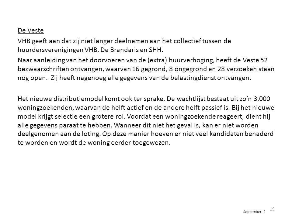 De Veste VHB geeft aan dat zij niet langer deelnemen aan het collectief tussen de huurdersverenigingen VHB, De Brandaris en SHH. Naar aanleiding van h