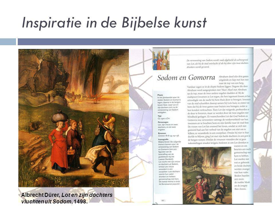 Inspiratie in de Bijbelse kunst Albrecht Dürer, Lot en zijn dochters vluchten uit Sodom, 1498.