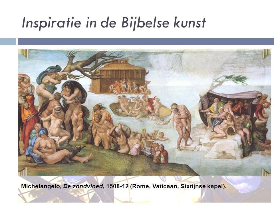 Inspiratie in de Bijbelse kunst Michelangelo, De zondvloed, 1508-12 (Rome, Vaticaan, Sixtijnse kapel).