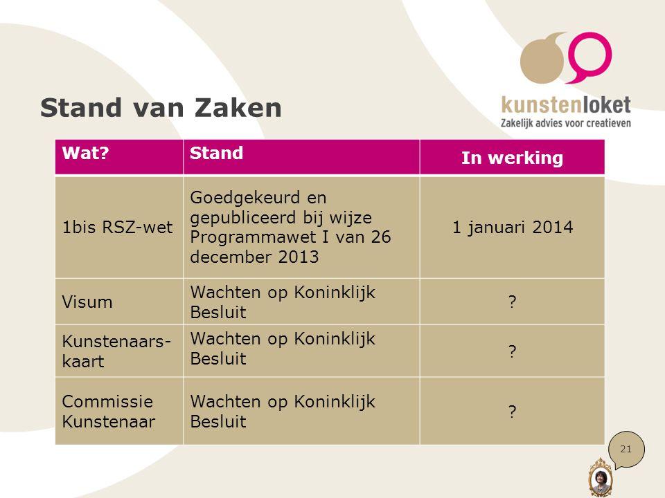 Stand van Zaken 21 Wat Stand In werking 1bis RSZ-wet Goedgekeurd en gepubliceerd bij wijze Programmawet I van 26 december 2013 1 januari 2014 Visum Wachten op Koninklijk Besluit .