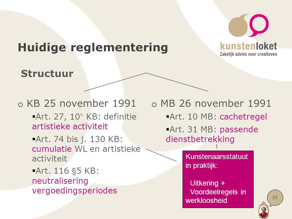Huidige reglementering Structuur o KB 25 november 1991  Art. 27, 10° KB: definitie artistieke activiteit  Art. 74 bis j. 130 KB: cumulatie WL en art