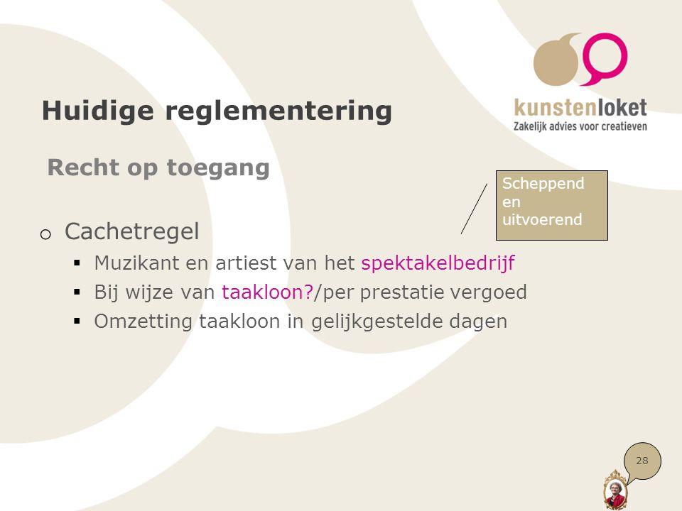 Huidige reglementering Recht op toegang o Cachetregel  Muzikant en artiest van het spektakelbedrijf  Bij wijze van taakloon?/per prestatie vergoed 