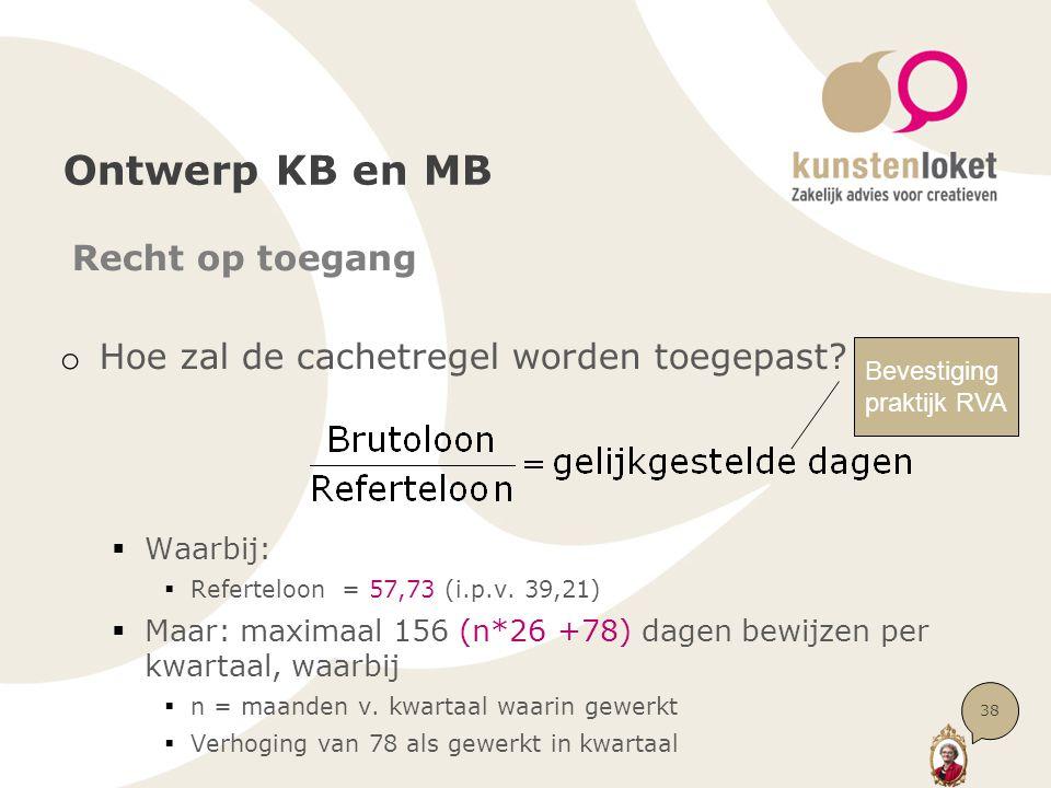 Ontwerp KB en MB Recht op toegang o Hoe zal de cachetregel worden toegepast?  Waarbij:  Referteloon = 57,73 (i.p.v. 39,21)  Maar: maximaal 156 (n*2