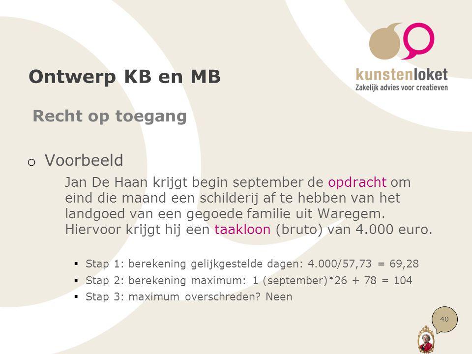 Ontwerp KB en MB Recht op toegang o Voorbeeld Jan De Haan krijgt begin september de opdracht om eind die maand een schilderij af te hebben van het lan