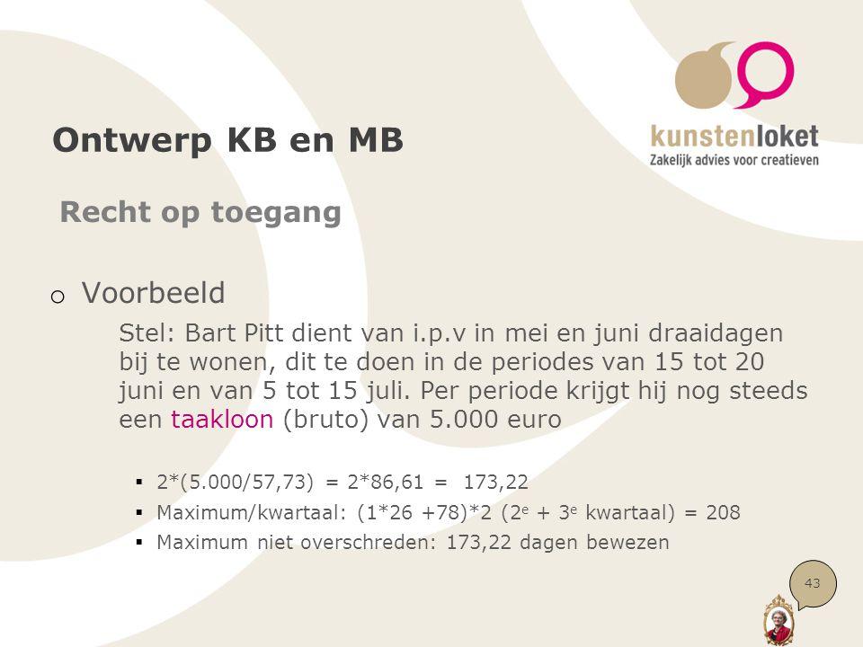 Ontwerp KB en MB Recht op toegang o Voorbeeld Stel: Bart Pitt dient van i.p.v in mei en juni draaidagen bij te wonen, dit te doen in de periodes van 15 tot 20 juni en van 5 tot 15 juli.