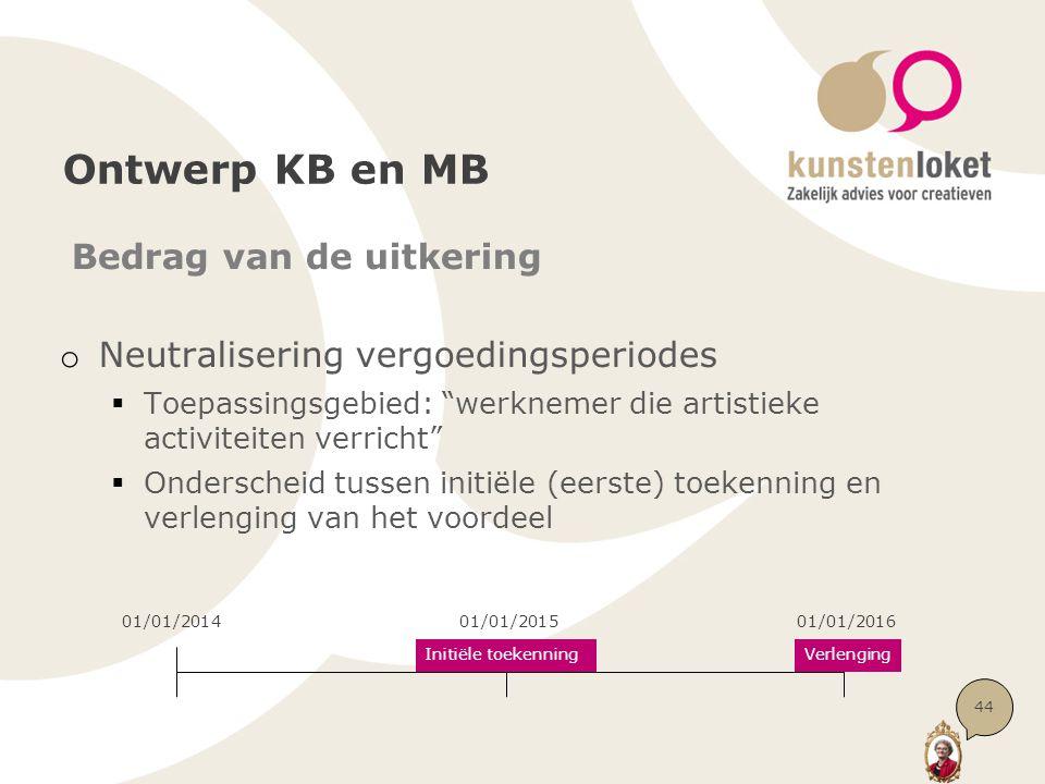 Ontwerp KB en MB Bedrag van de uitkering o Neutralisering vergoedingsperiodes  Toepassingsgebied: werknemer die artistieke activiteiten verricht  Onderscheid tussen initiële (eerste) toekenning en verlenging van het voordeel 44 01/01/201401/01/201501/01/2016 Initiële toekenningVerlenging