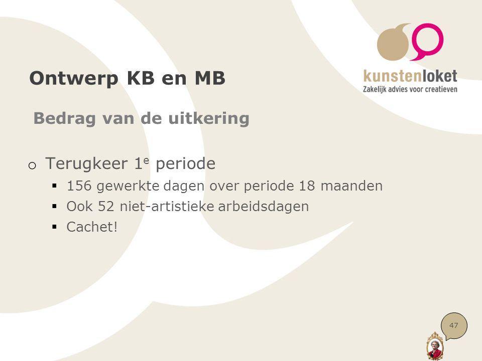 Ontwerp KB en MB Bedrag van de uitkering o Terugkeer 1 e periode  156 gewerkte dagen over periode 18 maanden  Ook 52 niet-artistieke arbeidsdagen  Cachet.
