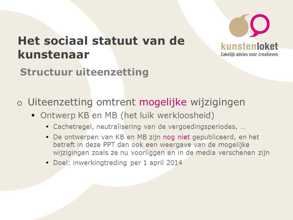 Het sociaal statuut van de kunstenaar Structuur uiteenzetting o Uiteenzetting omtrent mogelijke wijzigingen  Ontwerp KB en MB (het luik werkloosheid)